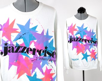 "Vintage ""Jazzercise"" Neon Colored Sweatshirt Large"