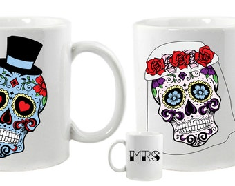 Sugar Skulls Matching Mr and Mrs Wedding Mugs