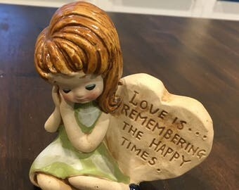 Stoneware Beauty Girl figurine with happy heart vintage 1970