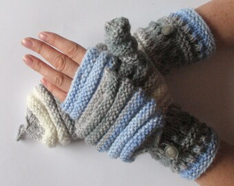 Mittens Fingerless Gloves Convertible Mittens Gray Azure Blue White Arm Warmers Knit Soft