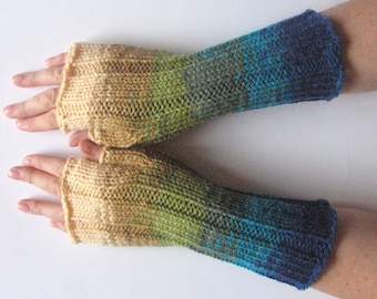 Fingerless Gloves Salad Green Moss Blue Beige wrist warmers