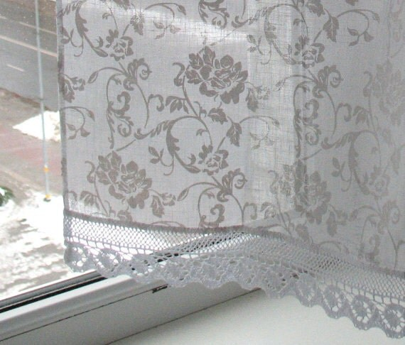 Vintage Lace Curtains Cafe Curtains Washed Linen White Kitchen