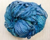 Hand dyed Sari Silk Ribbon in River Blue Worm Goo by Pen and Hook in 4 sizes of skeins