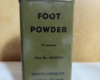 US Army WW2 to 1950s GI issue Foot Powder Tin OD green great item