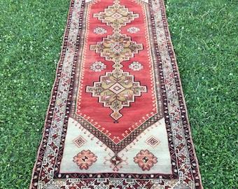 "Hallway Decor Vintage Anatolian Runner Rug,Unusual Medallion Pattern Organic Wool Rug,Hand Woven Turkish Entryway Kitchen Rug  3'6""x9'5"""