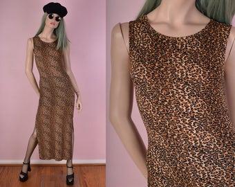 90s Leopard Print Maxi Dress/ Small/ 1990s