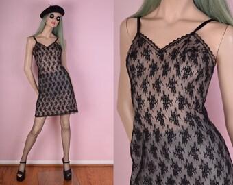 90s Lace Slip Dress/ Medium/ 1990s/ Black/ Mesh/ Floral