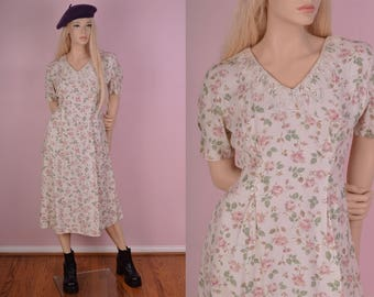 90s Floral Print Lace Collar Dress/ US 9/ 1990s