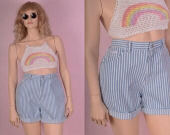 80s Striped High Waisted Shorts/ 31 Waist/ 1980s/ Denim