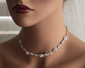 Wedding jewelry, bridal jewelry set, Bridal necklace earrings, bridal bracelet, bridesmaid jewelry, crystal choker, pearl backdrop necklace