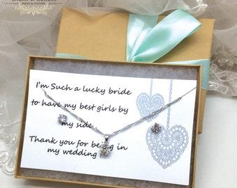 Bridesmaid Jewelry Set, Crystal Bridal Set, Wedding Jewelry Set, Bridal Earrings Necklace Set, Cubic Zirconia, Crystal Necklace and Earrings