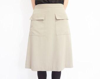 90s Minimal Beige Low Rise Midi Skirt / Size Small