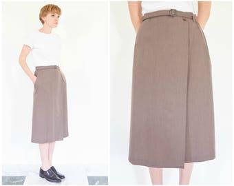 90s Minimal Belted Wrap Skirt / 28 Waist