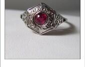 Antique Art Deco 14k Ruby Engraved Filigree Engagement Ring