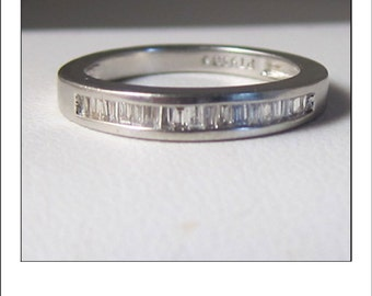 Vintage Platinum Baguette Diamond Wedding Band
