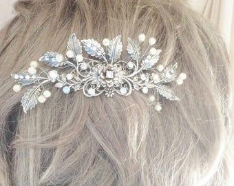 Leaf flower barrette silver wedding hair clip wedding barrette flower leaf hair clip flower leaf hair clip bridal hair clip wedding clip
