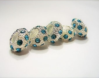 4 AQUA Blue Crystal  European Slide Charm Bracelet, Beads - Silver Plated Euro