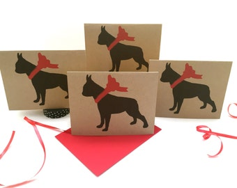 Boston Terrier Card Set % to ANIMAL RESCUE ECO Friendly Pack Blank Cards Holiday Thank You Dog Birthday Christmas Gift Wrap Red pet sympathy