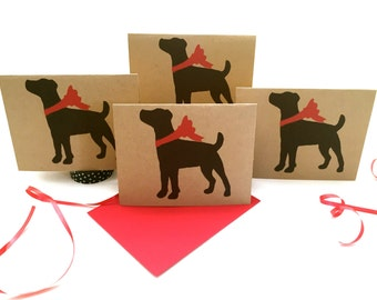Jack Russell Card Set % to ANIMAL RESCUE ECO Friendly Pack Blank Cards Holiday Thank You Birthday Christmas Gift Wrap, Red, dog pet sympathy