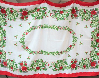 Vintage Christmas Red Poinsettia Tablecloth - Large Rectangle