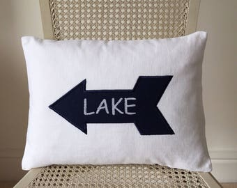 Decorative applique pillow cover with  beach sign. White cushion. Embroidered cushion.
