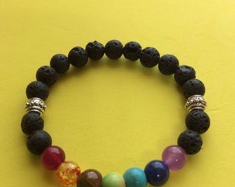 Natural Lava Rock and Chakra or Turquoise Stretch Bracelet