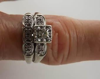 1950s Bridal Set .37Ctw Diamonds White Gold 14K 4.7gm Size 8 Illusion Setting of Diamonds