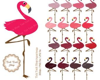 flamingo high quality SET - (6x12 inch) Clip Art - ticktockshop