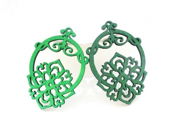 Dyeing Series - 6 PCS 40x60 mm Variety of Colors Filigree Oriental Style Flower Cutting Wood Charm/pendant NM65