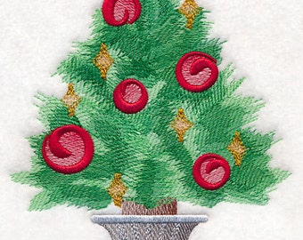 Decorative Machine Embroidered Potted Christmas Tree in Watercolor Design Towel, Embroidery Hand Towel, Guest towel, Hostess Gift