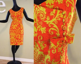 Vintage 60s MOD Baroque Dress! 1960s Mad Men Twiggy Sexy Fitted Sheath Asymmetric Bow Bright Persimmon Orange & Chartreuse Linen Size Small