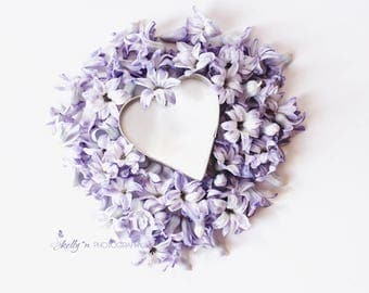 Floral Still Life- Purple Hyacinth Photo, Hyacith Petals, Hyacinth Flower Print, Floral Wall Art, Purple Lavender Decor, Floral Heart
