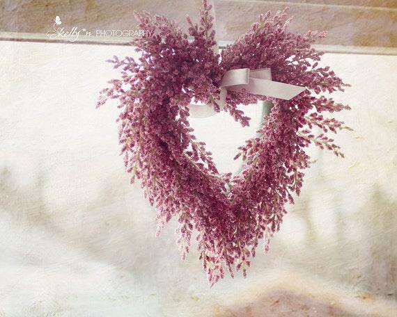 Floral photographie - rose coeur Couronne impression, Decor de la Saint-Valentin, coeur Floral Photo, Decor rose, amour Art, decoration murale florale, décor de ferme