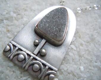 Gray Drusy Tree Necklace, Drusy Jewelry, Druzy, Tree Pendant, Artisan Jewelry