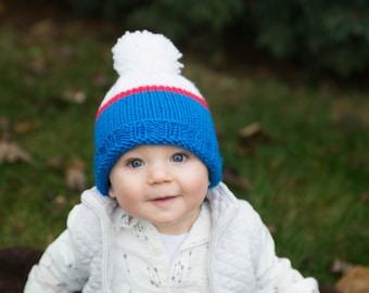 Team colors hat, basic toddler hat pattern, basic kids hat pattern, basic baby hat pattern, kids pompom hat pattern, toddler pompom hat