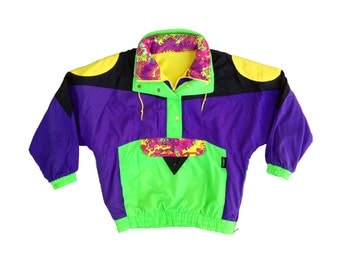 Extreme 80s Ispo Aesthetic Accented Fleece Lined Ski Jacket - M
