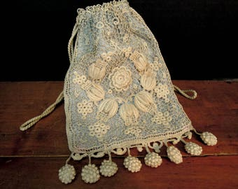 Vintage / Antique Edwardian / Victorian Crocheted Sac Purse / Hand Crochet Beige / Ivory and Blue Reticula / Handbag