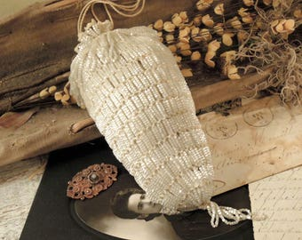 Antique Vintage Edwardian / Victorian Ivory White Glass Beaded Hand Crocheted Handbag / Reticules / Wedding Handbag