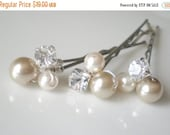 ON SALE Bridal Pearl Hair Jewelry. Taupe Ivory Pearls. Rhinestones. GIFT . Hair Pins. Prom. Bride Maids. Shower Gift