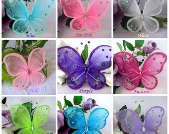 """5"""" Butterfly Pink, Blue, Turquoise, Fuchsia, Purple, Hot Pink, Lavender, White, Ivory, Red Nylon Butterfly for Baby Shower, Wedding Favor"""