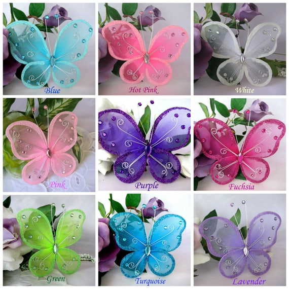 "Turquoise Fuchsia Wedding: 5"" Butterfly Pink, Blue, Turquoise, Fuchsia, Purple, Hot"