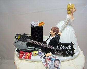 NEW No more ROCKIN Black/Axe Electric GUITAR Funny Wedding Cake Topper Rockstar Rocker Bride and Groom Rock n Roll Groom with Amp.