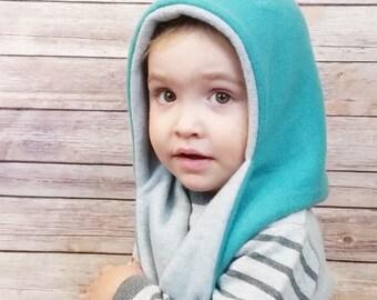 Reversible fleece hooded scarf, fleece scarf, fleece pixie hat, hooded scarf, winter fashion, kids winter hat, winter hat, winter elf hat