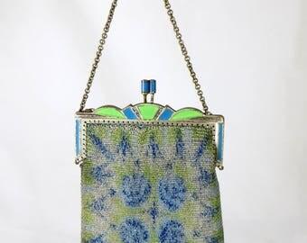 Art Deco Flapper Evening Bag, 1930s Whiting & Davis German Dresden Metal Mesh Net Chainmail Blue/Green Enamel Cocktail Purse