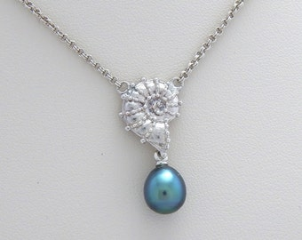 Sterling Silver Nautilus and Tahitian Pearl Necklace