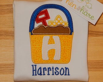 Summer Beach Trip Fun Sand Pail Toys Personalized shirt or onesie choose fabric colors customize name initial embroidered monogrammed