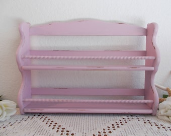 Pink Shabby Chic Spice Shelf Rustic Distressed Curio Display Beach Cottage French Country Farm House Paris Home Decor Baby Girl Nursery Gift