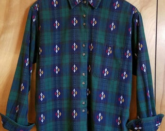 Vintage Flannel Button Up with Embroidered Detail//1990s Vintage//Size Medium