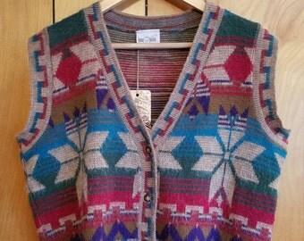 Vintage Southwestern Button Up Sweater Vest Womens Size Medium