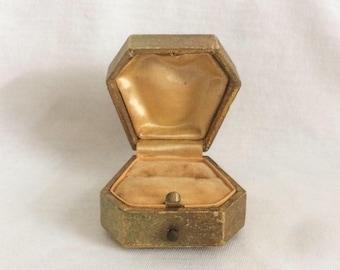 Rare Shape Art Deco Ring Box Gold Velvet Wedding Display pushed button Vintage Antique